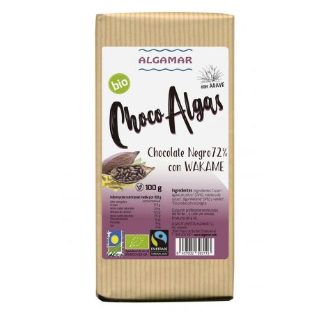 ALGAMAR CHOCOLATE NEGRO CON ALGA WAKAME 100 GR