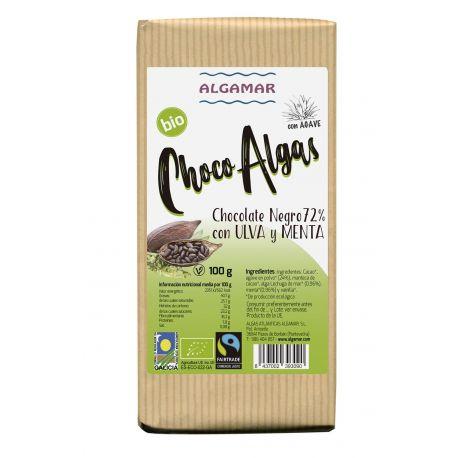 CHOCOLATE NEGRO CON ALGA ULVA Y MENTA 100 GRS