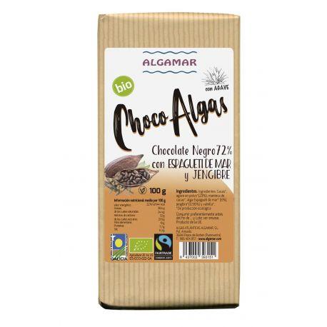 ALGAMAR CHOCOLATE NEGRO CON ALGAS Y JENGIBRE 100 GRS
