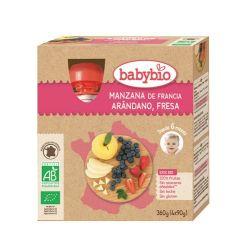 BabyBio Manzana Arandano Fresa Bio 4x90 g