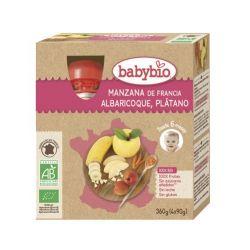 BabyBio Manzana Albaricoque Platano Bio 4x90 g